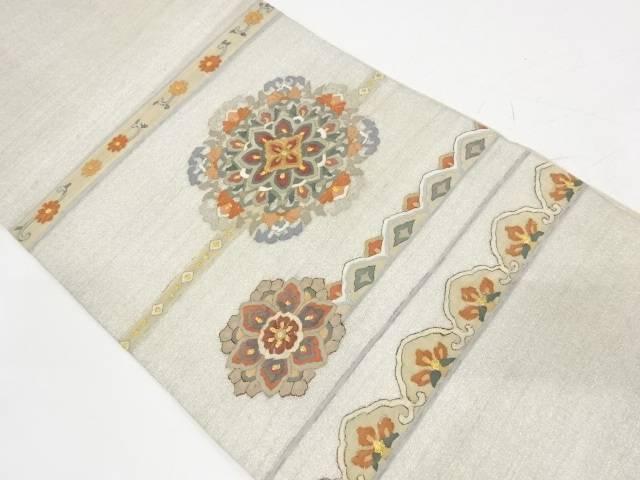 合計3980円以上の購入で送料無料 正規品送料無料 明綴れすくい織横段に華紋模様織出し袋帯 35%OFF 中古 リサイクル