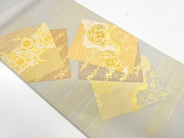 即納送料無料 合計3980円以上の購入で送料無料 綴れ色紙に草花模様織出し袋帯 リサイクル 中古 超安い