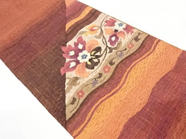 合計3980円以上の購入で送料無料 すくい織花唐草模様織出し袋帯 無料サンプルOK 安全 リサイクル 中古