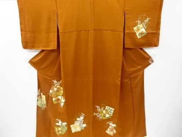 Seasonal Wrap入荷 合計3980円以上の購入で送料無料 本店 色紙に牡丹 菊模様刺繍訪問着 中古 リサイクル