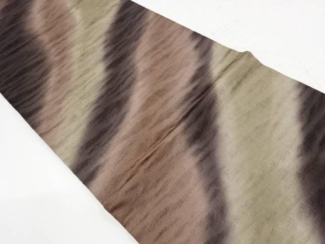 待望 合計3980円以上の購入で送料無料 人気 すくい織よろけ斜め縞模様暈し全通袋帯 中古 リサイクル