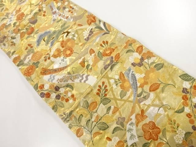 合計3980円以上の購入で送料無料 期間限定お試し価格 男女兼用 本金籠目に短冊 花模様織出し袋帯 リサイクル 中古