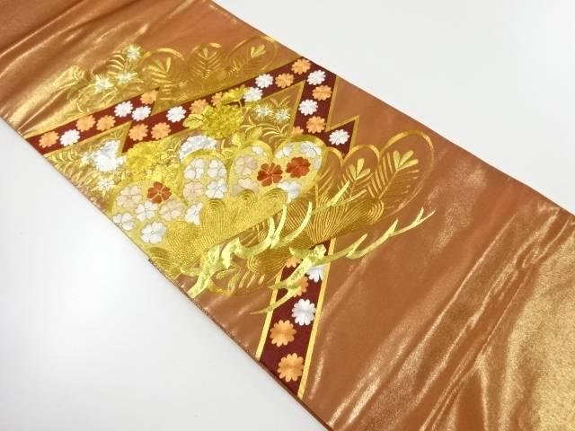 合計3980円以上の購入で送料無料 川島織物製 人気ショップが最安値挑戦 宅配便送料無料 笠松に花模様刺繍袋帯 中古 リサイクル