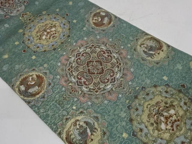 合計3980円以上の購入で送料無料 華紋に花鳥模様織出し袋帯 中古 セットアップ お中元 リサイクル