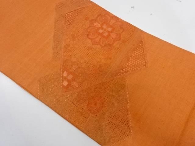 驚きの値段 合計3980円以上の購入で送料無料 汕頭蘇州刺繍菱に華紋模様織出し袋帯 中古 リサイクル 購入