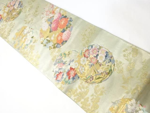 合計3980円以上の購入で送料無料 唐織丸に花模様織り出し袋帯 中古 年間定番 リサイクル 期間限定今なら送料無料