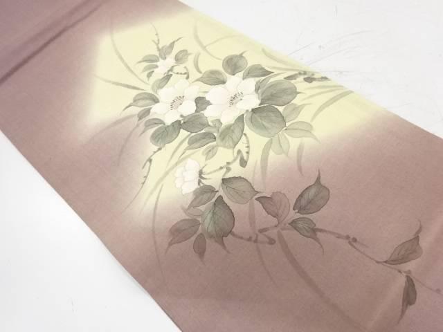 合計3980円以上の購入で送料無料 手織り紬手描き椿模様袋帯 中古 リサイクル 年間定番 人気上昇中
