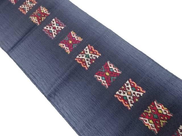 合計3980円以上の購入で送料無料 待望 すくい織斜め格子模様織出し全通袋帯 再再販 中古 リサイクル