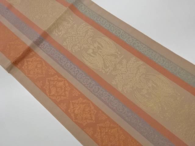 販売 今季も再入荷 合計3980円以上の購入で送料無料 縞に向かい鳥紋 唐草模様織出し袋帯 中古 リサイクル