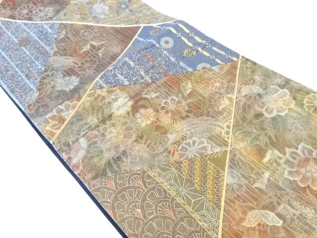 合計3980円以上の購入で送料無料 5☆好評 切り嵌め草花模様織り出し袋帯 お気に入 中古 リサイクル