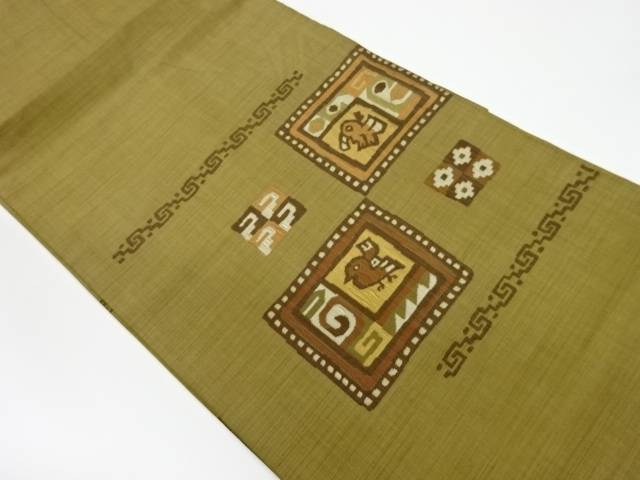 別倉庫からの配送 合計3980円以上の購入で送料無料 贈答 抽象鳥模様織出し名古屋帯 リサイクル 中古