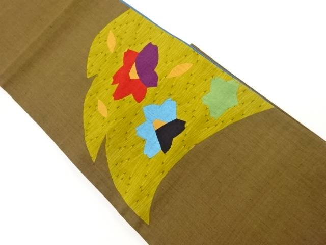 高品質 特価 合計3980円以上の購入で送料無料 手織り節紬切り嵌め松葉に椿模様袋帯 中古 リサイクル