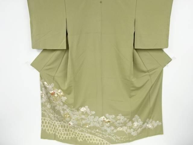 上品 合計3980円以上の購入で送料無料 金彩扇に松 梅 トレンド 中古 草花模様刺繍一つ紋色留袖 リサイクル
