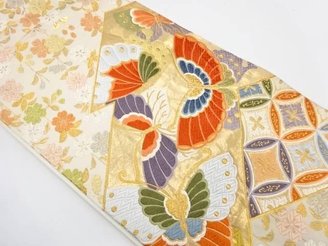 合計3980円以上の購入で送料無料 蝶に桜模様織出し袋帯 リサイクル 定番スタイル 中古 人気海外一番