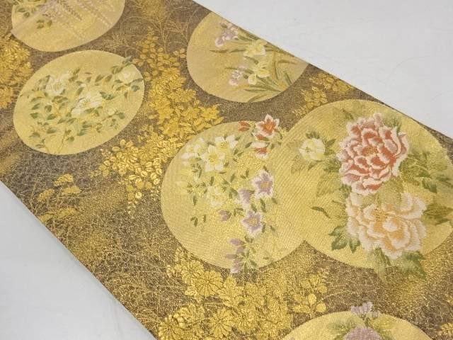 合計3980円以上の購入で送料無料 丸文に草花模様織出し袋帯 日本 人気海外一番 中古 リサイクル