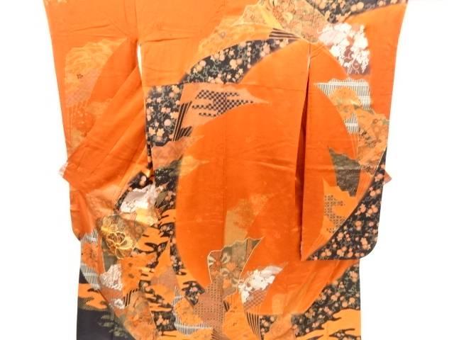 合計3980円以上の購入で送料無料 桜に捻り梅 扇模様刺繍振袖 人気の製品 トレンド 中古 リサイクル