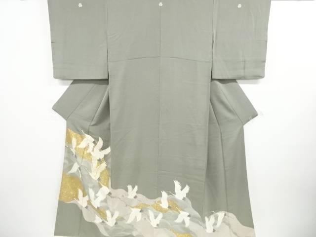 合計3980円以上の購入で送料無料 波に群鶴模様刺繍三ツ紋色留袖 比翼付 リサイクル お得セット 高品質 中古