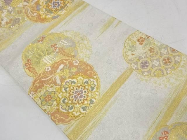霞に松藤・花鳥模様織出し袋帯【リサイクル】【中古】