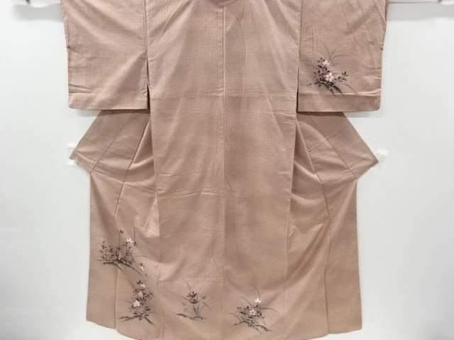 お金を節約 合計3980円以上の購入で送料無料 手描き花模様手織り真綿紬着物 中古 専門店 リサイクル