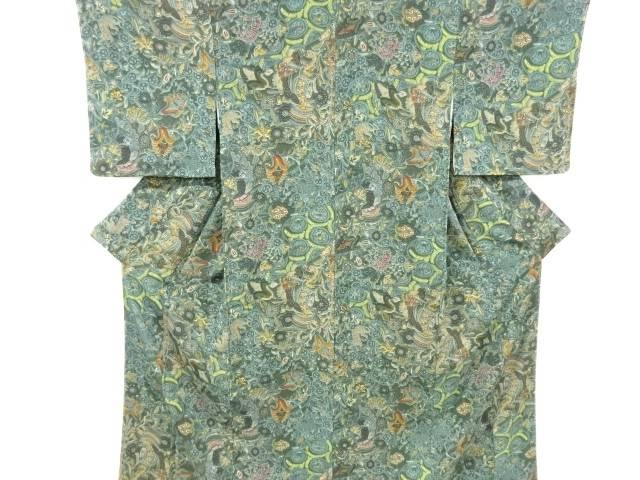 合計3980円以上の購入で送料無料 未使用品 唐花模様小紋着物 メーカー公式ショップ 超人気 仕立て上がり