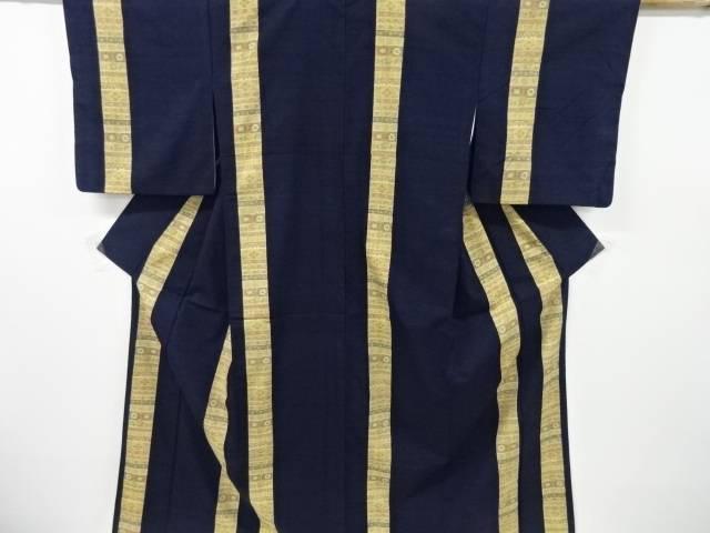 合計3980円以上の購入で送料無料 縞に花更紗模様織出し手織り真綿小千谷紬付下げ訪問着 安い 激安 プチプラ 高品質 リサイクル 中古 実物