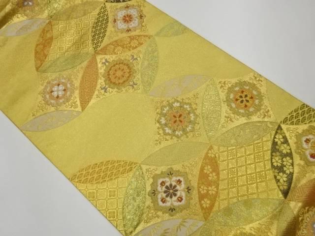 合計3980円以上の購入で送料無料 変わり七宝に華紋模様織出し袋帯 捧呈 正規認証品!新規格 中古 リサイクル