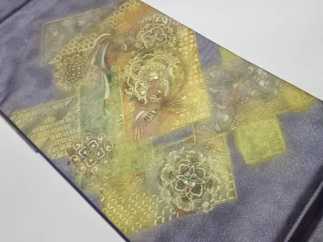 合計3980円以上の購入で送料無料 セール 箔置き螺鈿華文に鳳凰模様袋帯 中古 リサイクル 新品