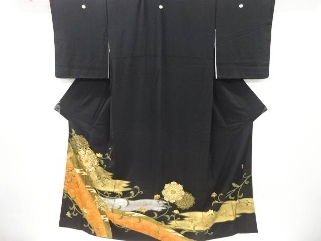 合計3980円以上の購入で送料無料 作家物 唐花模様刺繍留袖 比翼付き 中古 上質 開店祝い リサイクル