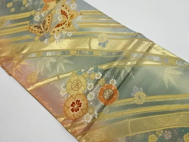 合計3980円以上の購入で送料無料 最新アイテム セール特別価格 花に蝶模様織出し袋帯 中古 リサイクル