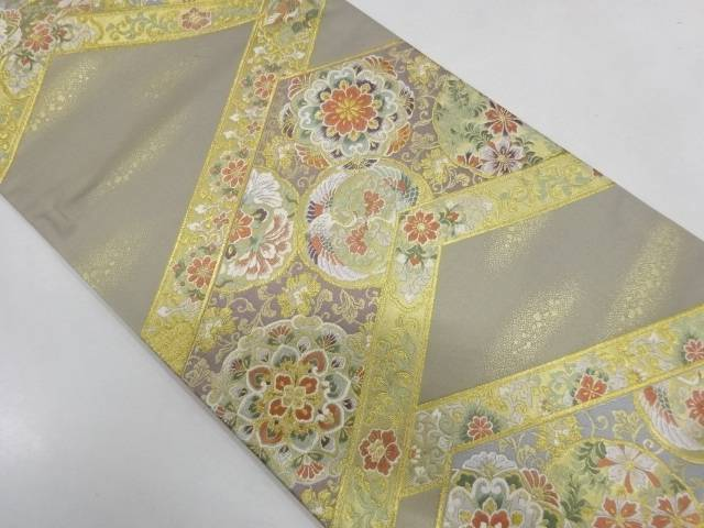 発売モデル 登場大人気アイテム 合計3980円以上の購入で送料無料 花鳥模様織出し袋帯 中古 リサイクル