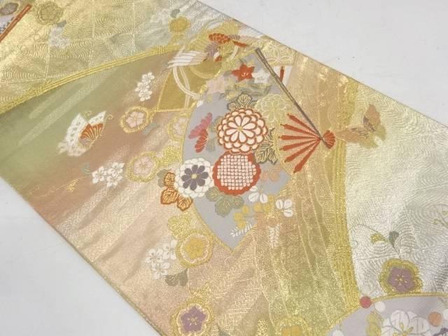 WEB限定 合計3980円以上の購入で送料無料 18%OFF 扇面に花鳥模様織出し袋帯 中古 リサイクル
