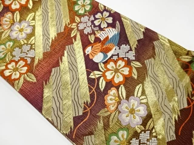 合計3980円以上の購入で送料無料 未使用品 1年保証 桜に鴛鴦模様織出し袋帯 中古 リサイクル 2020