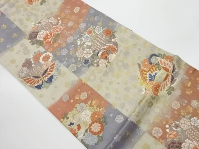 合計3980円以上の購入で送料無料 花鳥の丸模様織出し袋帯 マーケティング リサイクル 誕生日プレゼント 中古