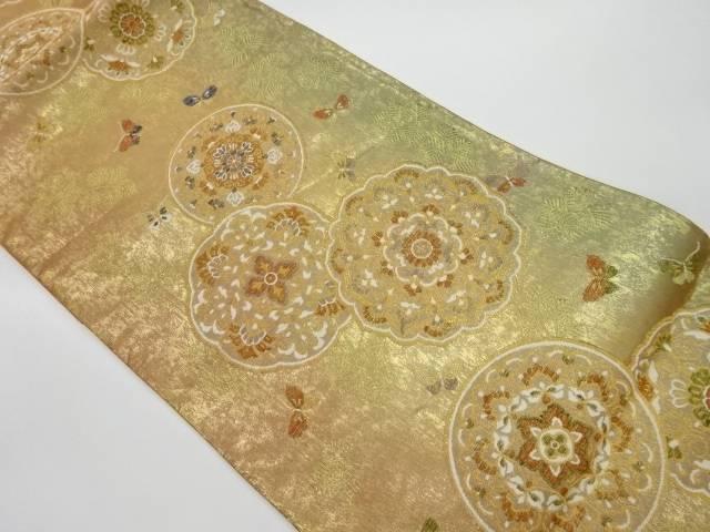 合計3980円以上の購入で送料無料 華紋に蝶模様織出し袋帯 超目玉 リサイクル 中古 贈呈
