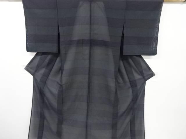合計3980円以上の購入で送料無料 卓抜 超激安 紗横段模様織り出し着物 中古 リサイクル