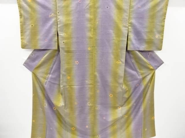 永遠の定番モデル 合計3980円以上の購入で送料無料 超歓迎された 縞に梅笹模様手織り節紬着物 リサイクル 中古