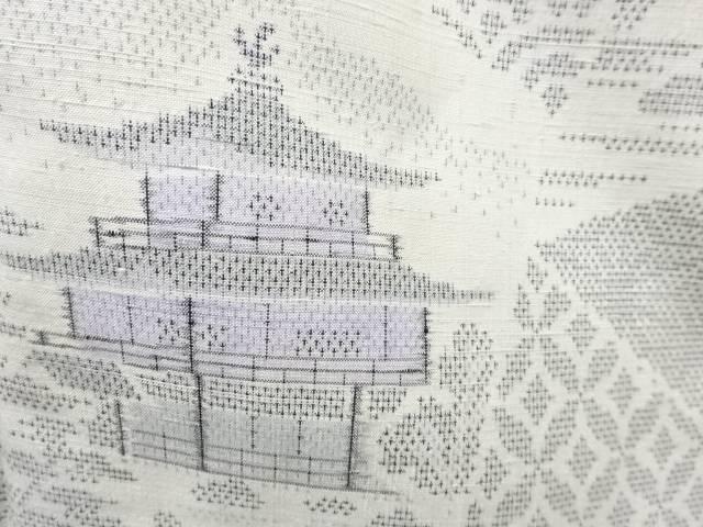 合計3980円以上の購入で送料無料 年間定番 寺塔に古典柄模様織り出し本場薩摩大島紬着物 7マルキ 中古 日本製 アンティーク
