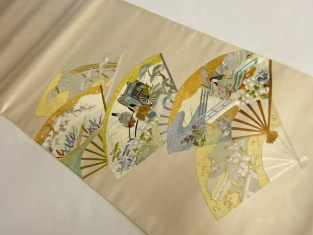 合計3980円以上の購入で送料無料 雲女我導作 蘇州刺綉 扇に時代人物模様刺繍袋帯 時間指定不可 中古 リサイクル 人気の製品