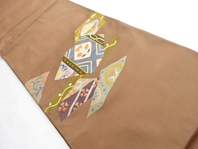 合計3980円以上の購入で送料無料 大好評です 金糸切り嵌めに抽象草花模様織り出し袋帯 リサイクル 中古 秀逸