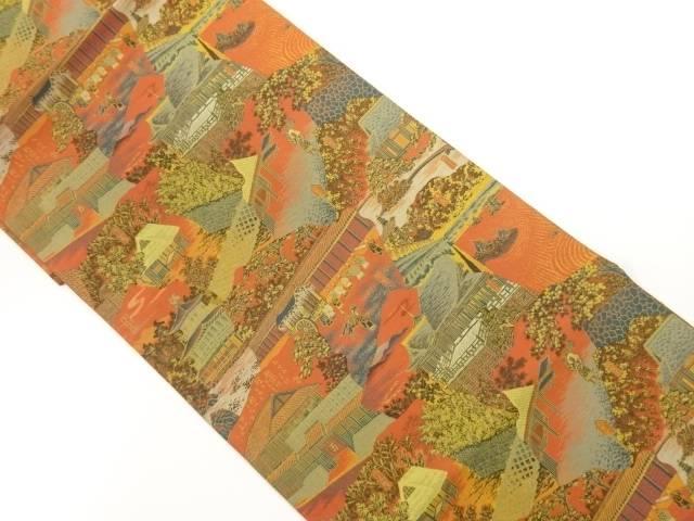 合計3980円以上の購入で送料無料 万葉製 捧呈 モデル着用&注目アイテム 京風景模様織出し全通袋帯 中古 リサイクル