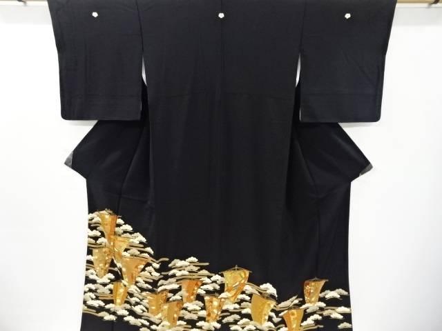 合計3980円以上の購入で送料無料 金彩帆立に松 人気の製品 鳳凰模様留袖 ラッピング無料 比翼付き リサイクル 中古