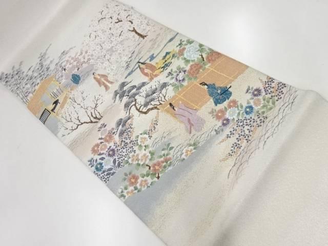 合計3980円以上の購入で送料無料 未使用品 綴れ竹取物語模様織出し袋帯 人気上昇中 リサイクル 超特価 中古