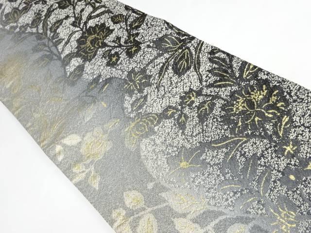 合計3980円以上の購入で送料無料 売り込み 花葉模様織り出し袋帯 リサイクル 交換無料 中古