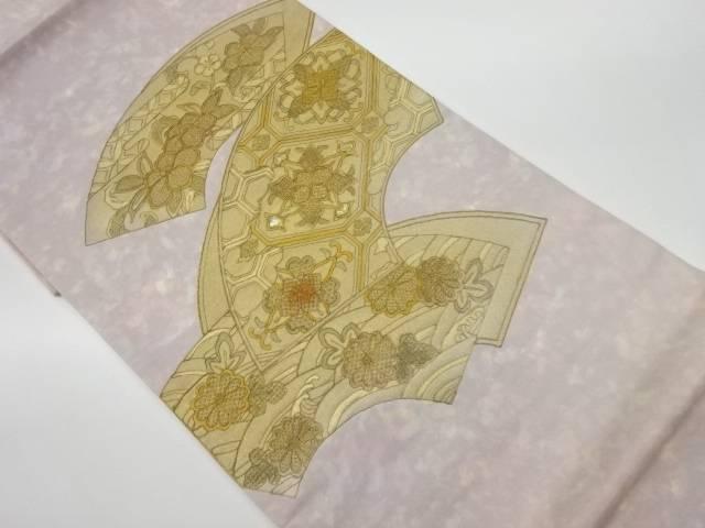 合計3980円以上の購入で送料無料 未使用品 螺鈿扇に蜀江文 卸売り リサイクル 低価格 中古 花模様袋帯