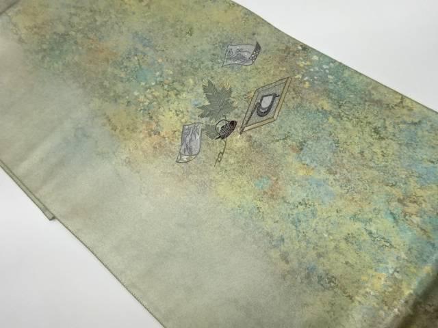 合計3980円以上の購入で送料無料 書道具に草葉模様織出し袋帯 卓出 本物◆ 中古 リサイクル