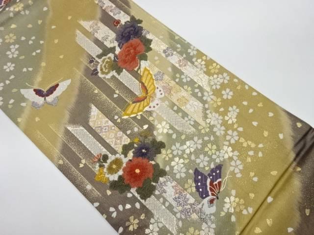数量限定アウトレット最安価格 合計3980円以上の購入で送料無料 日本メーカー新品 花に蝶模様織出し袋帯 中古 リサイクル