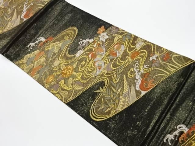 合計3980円以上の購入で送料無料 流水草花紋織出し袋帯 中古 SALE開催中 リサイクル 格安店