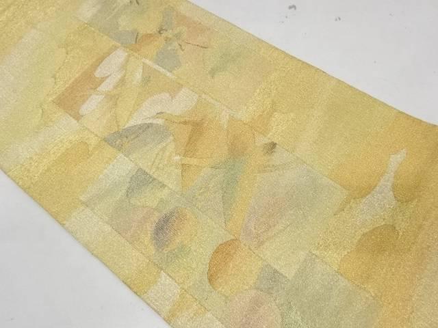合計3980円以上の購入で送料無料 短冊に群鶴 万寿菊模様織出し袋帯 中古 人気 リサイクル 公式