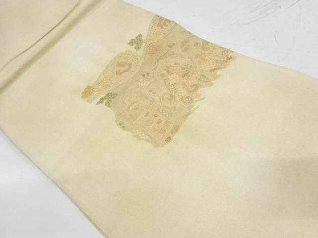 合計3980円以上の購入で送料無料 汕頭相良刺繍抽象人物に草葉模様袋帯 オープニング 大放出セール 初売り 中古 リサイクル