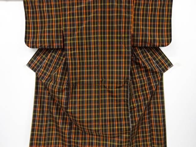 合計3980円以上の購入で送料無料 格子織り出し米沢紬着物アンサンブル 日本 中古 2020春夏新作 リサイクル